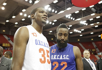 OKLAHOMA CITY, OK - OCTOBER 23:  Kevin Durant of Team White and James Harden of Team Blue talk to the media after the US Fleet Tracking Basketball Invitational charity basketball game October 23, 2011 at the Cox Convention Center in Oklahoma City, Oklahom