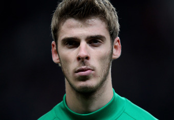 MANCHESTER, ENGLAND - NOVEMBER 22:  David de Gea of Manchester United looks on prior to the UEFA Champions League Group C match between Manchester United and SL Benfica at Old Trafford on November 22, 2011 in Manchester, England.  (Photo by Alex Livesey/G