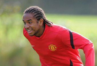 MANCHESTER, ENGLAND - SEPTEMBER 26: Anderson of Manchester United looks on during a training session ahead of their UEFA Champions League Group C match against Basel at the Carrington Training Ground on September 26, 2011 in Manchester, England.  (Photo b