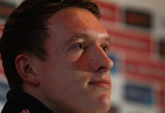 WATFORD, ENGLAND - NOVEMBER 10:  Phil Jones talks to the media during the England Press Conference at The Grove Hotel on November 10, 2011 in Watford, England. England will play current European and World Champions Spain in an Internantional Friendly matc