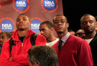 NEW YORK, NY - NOVEMBER 14:  Rajo Rondo and Russell Westbrook attend a press conference after National Basketball Players Association  met to discuss the current CBA offer at Westin Times Square on November 14, 2011 in New York City.  (Photo by Patrick Mc