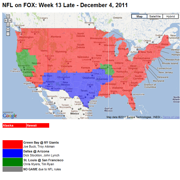 Nfl Tv Schedule Week 13 Coverage Maps For All Cbs And Fox