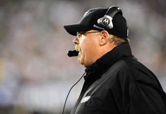 PHILADELPHIA, PA - NOVEMBER 27:  Head coach Andy Reid of the Philadelphia Eagles looks on as he coaches against the New England Patriots at Lincoln Financial Field on November 27, 2011 in Philadelphia, Pennsylvania.  (Photo by Patrick McDermott/Getty Imag