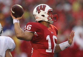 MADISON, WI - NOVEMBER 26:  Russell Wilson #16 of the Wisconsin Badgers throws a pass against the Penn State Nittany Lions at Camp Randall Stadium on November 26, 2011 in Madison, Wisconsin. Wisconsin defeated Penn State 45-7.  (Photo by Jonathan Daniel/G