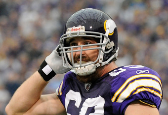 MINNEAPOLIS, MN - SEPTEMBER 25: Jared Allen #69 of the Minnesota Vikings celebrates during the the game against the Detroit Lions on September 25, 2011 at Hubert H. Humphrey Metrodome in Minneapolis, Minnesota. (Photo by Hannah Foslien/Getty Images)