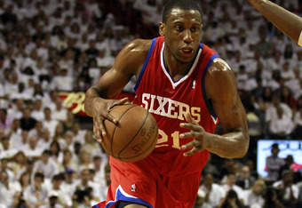 MIAMI, FL - APRIL 16:  Forward Thaddeus Young #21 of the Philadelphia 76ers drives against the Miami Heat at the American Airlines Arena in Game One of the Eastern Conference Quarterfinals in the 2011 NBA Playoffs on April 16, 2011 in Miami, Florida.The H