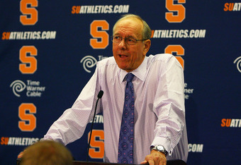 SYRACUSE, NY - NOVEMBER 19:  Head coach of the Syracuse Orange, Jim Boeheim talking during the press conference after the game against the Colgate Raiders at the Carrier Dome on November 19, 2011 in Syracuse, New York.  (Photo by Nate Shron/Getty Images)