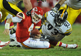 KANSAS CITY, MO - NOVEMBER 27:  Linebacker Jason Worilds #93 of the Pittsburgh Steelers sacks quarterback Tyler Palko #4 of the Kansas City Chiefs during the second half on November 27, 2011 at Arrowhead Stadium in Kansas City, Missouri.  Pittsburgh defea