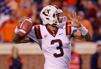 CHARLOTTESVILLE, VA - NOVEMBER 26:  Logan Thomas #3 of the Virginia Tech Hokies throws the ball against the Virginia Cavaliers at Scott Stadium on November 26, 2011 in Charlottesville, Virginia. (Photo by Geoff Burke/Getty Images)