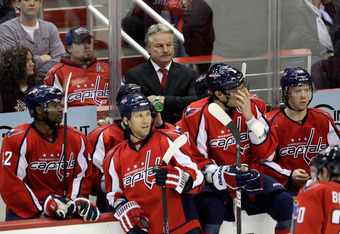 WASHINGTON, DC - NOVEMBER 29:  New head coach Dale Hunter of the Washington Capitals looks on from the bench during the third period against the St. Louis Blues at Verizon Center on November 29, 2011 in Washington, DC.  (Photo by Rob Carr/Getty Images)
