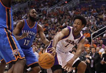 PHOENIX, AZ - MARCH 30:  Josh Childress #1 of the Phoenix Suns passes the ball during the NBA game against the Oklahoma City Thunder at US Airways Center on March 30, 2011 in Phoenix, Arizona.  The Thunder defeated the Suns 116-98. NOTE TO USER: User expr