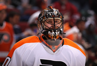 GLENDALE, AZ - DECEMBER 03:  Goaltender Ilya Bryzgalov #30 of the Philadelphia Flyers warms up before the NHL game against the Phoenix Coyotes at Jobing.com Arena on December 3, 2011 in Glendale, Arizona.  (Photo by Christian Petersen/Getty Images)