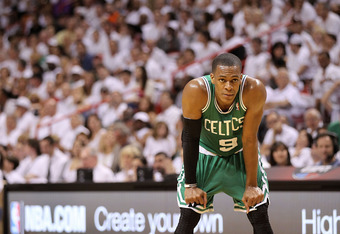 MIAMI, FL - MAY 01:  Rajon Rondo #9  of the Boston Celtics looks on  during Game One of the Eastern Conference Semifinals of the 2011 NBA Playoffs against the Miami Heat at American Airlines Arena on May 1, 2011 in Miami, Florida. NOTE TO USER: User expre