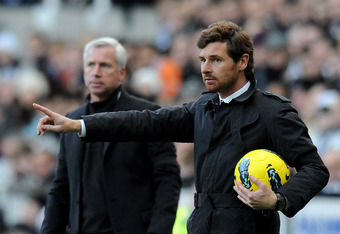 NEWCASTLE , ENGLAND - DECEMBER 03:  Chelsea Manager Andre Villas Boas gestures during the Barclays Premier League match between Newcastle United and Chelsea at the Sports Direct Arena  on December 3, 2011 in Newcastle, England.  (Photo by Gareth Copley/Ge