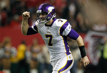ATLANTA, GA - NOVEMBER 27:  Christian Ponder #7 of the Minnesota Vikings celebrates after tossing a touchdown reception against the Atlanta Falcons at Georgia Dome on November 27, 2011 in Atlanta, Georgia.  (Photo by Kevin C. Cox/Getty Images)