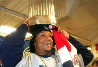 Pedro celebrates the 2004 Red Sox World Series Victory.