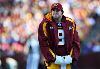 LANDOVER, MD - NOVEMBER 6: Quarterback Rex Grossman #8 of the Washington Redskins walks the sideline against the San Francisco 49ers at FedExField on November 6, 2011 in Landover, Maryland. The San Francisco 49ers won, 19-11. (Photo by Patrick Smith/Getty