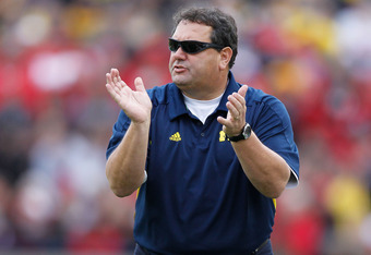ANN ARBOR, MI - NOVEMBER 26: Head coach Brady Hoke of the Michigan Wolverines looks on from the sidelines while playing the Ohio State Buckeyes at Michigan Stadium on November 26, 2011 in Ann Arbor, Michigan. (Photo by Gregory Shamus/Getty Images)