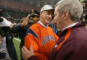 Auburn coach Tommy Tuberville shakes Virginia Tech coach Frank Beamer's hand after winning the 2005 Sugar Bowl.