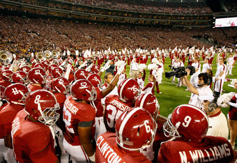 TUSCALOOSA, AL - NOVEMBER 05:  The Alabama Crimson Tide prepare for the second half of the game against the LSU Tigers at Bryant-Denny Stadium on November 5, 2011 in Tuscaloosa, Alabama.  (Photo by Streeter Lecka/Getty Images)