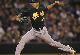 SEATTLE - SEPTEMBER 28:  Starting pitcher Gio Gonzalez #47 of the Oakland Athletics pitches against the Seattle Mariners at Safeco Field on September 28, 2011 in Seattle, Washington. (Photo by Otto Greule Jr/Getty Images)