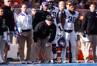 BOISE, ID - NOVEMBER 12:  Head Coach Gary Patterson of the TCU Horned Frogs watches a play against the Boise State Broncos at Bronco Stadium on November 12, 2011 in Boise, Idaho.  (Photo by Otto Kitsinger III/Getty Images)