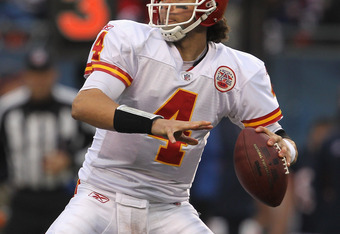 CHICAGO, IL - DECEMBER 04: Tyler Palko #4 of the Kansas City Chiefs throws a pass against the Chicago Bears at Soldier Field on December 4, 2011 in Chicago, Illinois. (Photo by Jonathan Daniel/Getty Images)