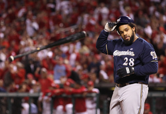 ST LOUIS, MO - OCTOBER 13:  Prince Fielder #28 of the Milwaukee Brewers throws his bat after he struck out in the top of the first inning against the St. Louis Cardinals during Game 4 of the National League Championship Series at Busch Stadium on October