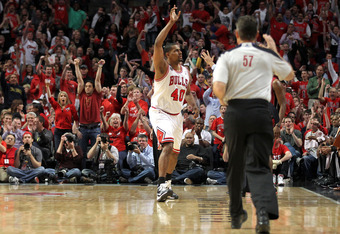 CHICAGO, IL - MAY 26:  Kurt Thomas #40 of the Chicago Bulls reacts after he made a shot in the second half against the Miami Heat in Game Five of the Eastern Conference Finals during the 2011 NBA Playoffs on May 26, 2011 at the United Center in Chicago, I