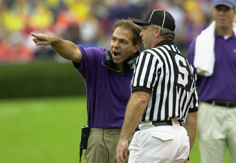 Nick Saban making an appeal for the Purple and Gold