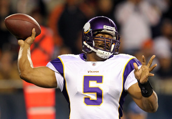 CHICAGO, IL - OCTOBER 16:  Quaretrback Donovan McNabb # 5 of the Minnesota Vikings passes during the game against the Chicago Bears on October 16, 2011 at Soldier Field in Chicago, Illinois.  (Photo by Jamie Squire/Getty Images)