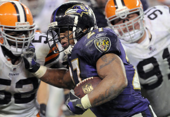 CLEVELAND, OH - DECEMBER 4: Running back Ray Rice #27 of the Baltimore Ravens runs for a gain during the third quarter against the Cleveland Browns at Cleveland Browns Stadium on December 4, 2011 in Cleveland, Ohio. The Ravens debated the Browns 24-10. (P