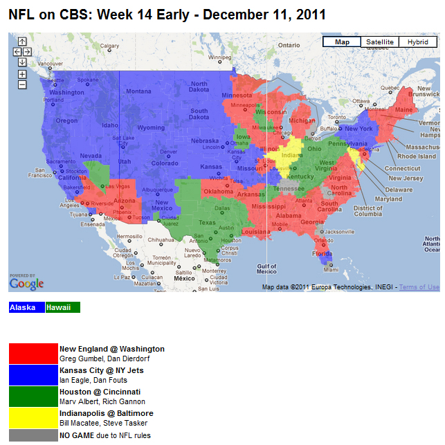 Nfl Tv Schedule Week 14 Coverage Maps For All Cbs And Fox