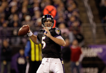 BALTIMORE, MD - NOVEMBER 24:  Joe Flacco #5 of the Baltimore Ravens looks to pass against the San Francisco 49ers at M&T Bank Stadium on November 24, 2011 in Baltimore, Maryland.  (Photo by Rob Carr/Getty Images)