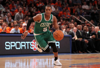NEW YORK, NY - APRIL 24:  Rajon Rondo #9 of the Boston Celtics brings the ball up court against the New York Knicks in Game Four of the Eastern Conference Quarterfinals during the 2011 NBA Playoffs on April 24, 2011 at Madison Square Garden in New York Ci