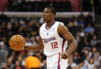 LOS ANGELES, CA - DECEMBER 01:  Eric Bledsoe #12 of the Los Angeles Clippers dribbles against the San Antonio Spurs at the Staples Center on December 1, 2010 in Los Angeles, California.  NOTE TO USER: User expressly acknowledges and agrees that, by downlo