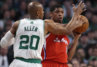 BOSTON, MA - MARCH 09: Ryan Gomes #15 of the Los Angeles Clippers looks to pass as Ray Allen #20 of the Boston Celtics defends on March 9, 2011 at the TD Garden in Boston, Massachusetts. NOTE TO USER: User expressly acknowledges and agrees that, by downlo