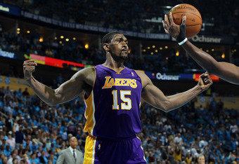 NEW ORLEANS, LA - APRIL 28:  Ron Artest #15 of the Los Angeles Lakers reacts during play against the New Orleans Hornets in Game Six of the Western Conference Quarterfinals in the 2011 NBA Playoffs on April 28, 2011 at New Orleans Arena in New Orleans, Lo