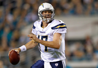 JACKSONVILLE, FL - DECEMBER 05:  Quarterback Philip Rivers #17 of the San Diego Chargers drops back to pass against the Jacksonville Jaguars at EverBank Field on December 5, 2011 in Jacksonville, Florida.  (Photo by Mike Ehrmann/Getty Images)