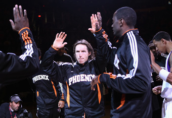 PHOENIX - DECEMBER 03:  Steve Nash #13 of the Phoenix Suns is introduced before the NBA game against the Indiana Pacers at US Airways Center on December 3, 2010 in Phoenix, Arizona. NOTE TO USER: User expressly acknowledges and agrees that, by downloading