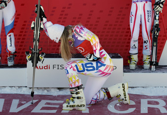 American slalom skier Lindsey Vonn Tebowing after winning the women's Super G, December 7, 2011.