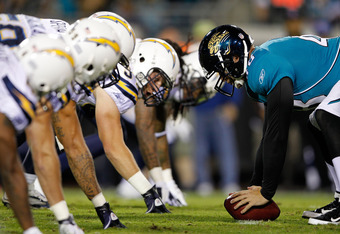 JACKSONVILLE, FL - DECEMBER 05:  The San Diego Chargers line up against the Jacksonville Jaguars at EverBank Field on December 5, 2011 in Jacksonville, Florida.  (Photo by Mike Ehrmann/Getty Images)