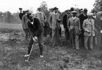JUN 1920:  WALTER HAGEN OF THE UNITED STATES IN ACTION DURING A GOLF MATCH BETWEEN ENGLAND AND AMERICA. Mandatory Credit: Allsport Hulton/Archive