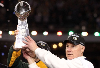 ARLINGTON, TX - FEBRUARY 06:  Green Bay Packers General Manager Ted Thompson celebrates after winning Super Bowl XLV 31-25 against the Pittsburgh Steelers at Cowboys Stadium on February 6, 2011 in Arlington, Texas.  (Photo by Al Bello/Getty Images)