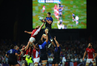 NAPIER, NEW ZEALAND - SEPTEMBER 18:  Pascal Pape of France wins lineout ball under pressure from Adam Kleeberger of Canada during the IRB 2011 Rugby World Cup Pool A match between France and Canada at McLean Park on September 18, 2011 in Napier, New Zeala