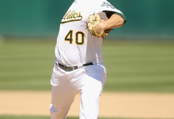 OAKLAND, CA - JULY 11:  Andrew Bailey #40 of the Oakland Athletics pitches against the Los Angeles Angels of Anaheim at the Oakland-Alameda County Coliseum on July 11, 2010 in Oakland, California.  (Photo by Ezra Shaw/Getty Images)