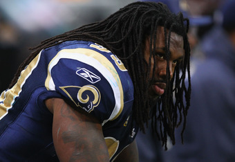 ST. LOUIS, MO - NOVEMBER 20: Steven Jackson #39 of the St. Louis Rams looks on from the bench in the waning minutes of the fourth quarter against the Seattle Seahawks at the Edward Jones Dome on November 20, 2011 in St. Louis, Missouri.  The Seahawks beat