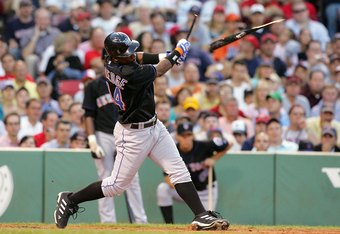 BOSTON - JUNE 27: Lastings Milledge #44 of the New York Mets breaks his bat as he grounds out against the Boston Red Sox on June 27, 2006 at Fenway Park in Boston, Massachusetts.  (Photo by Jim McIsaac/Getty Images)