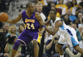 NEW ORLEANS - APRIL 24:  Chris Paul #3 of the New Orleans Hornets guards Kobe Bryant #24 of the Los Angeles Lakers in Game Four of the Western Conference Quarterfinals in the 2011 NBA Playoffs at New Orleans Arena on April 24, 2011 in New Orleans, Louisia