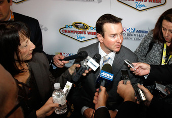 LAS VEGAS, NV - DECEMBER 01:  Driver Kurt Busch speaks to the media after the NASCAR Sprint Cup Series Champion's Week NMPA Myers Brothers Awards Luncheon at the Bellagio on December 1, 2011 in Las Vegas, Nevada.  (Photo by Todd Warshaw/Getty Images for N